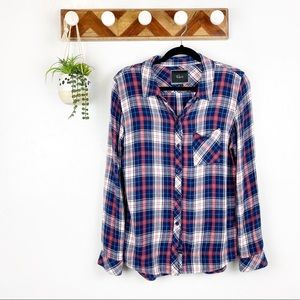Rails | Navy Red Button Up Long Sleeve Shirt